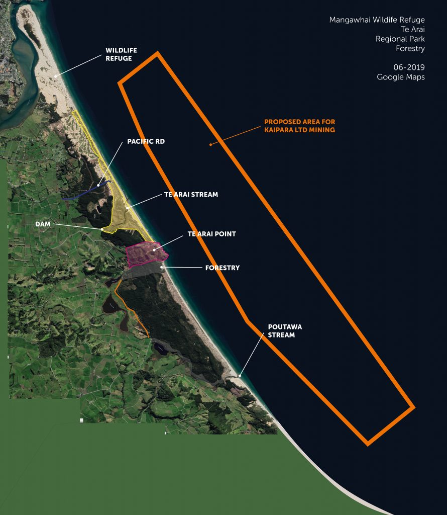 map showing extent of resource consent of mining applied for by Kaipara Ltd 2019